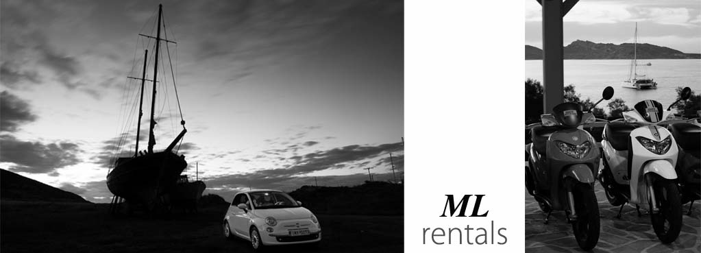 ML car and motorbike rental in Naoussa Paros detail